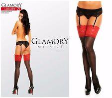 50137 Straps-Strümpfe rot-schwarz Gr. 52-54 breite Spitze Glamory Luxury 20 den