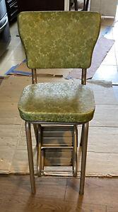 Vintage Step Stool Chair w/Sliding Steps Kitchen Ladder Chair Mid Century