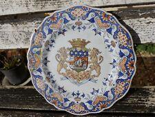 Assiette Faïence de Quimper PORQUIER BEAU XIXe Blason Lorient