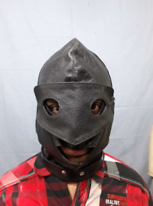 Leather Hood Masquerade Submissive Open Mouth & Eye Cosplay Carnival Cuir Leder