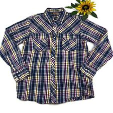Ariat Mens Medium Navy Blue Yellow Plaid Western Shirt 100% Cotton Pearl Snap