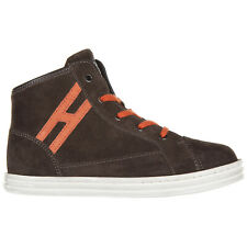 HOGAN REBEL BOYS SHOES BABY CHILD HIGH TOP SNEAKERS SUEDE NEW R141 BROWN 86B