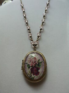 VICTORIAN ROSE DOUBLE SIDED LOCKET PINK CRYSTAL BEADS ROLO CHAIN 26""