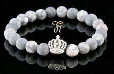 Jaspe Blanc Gris Mat 8mm Bracelet de Perles Coloris Argent Couronne