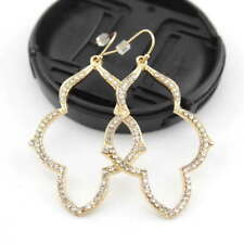 Hand-set pavé Shiny Gold Arabesque Chandeliers Earrings