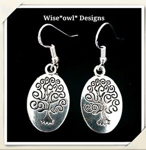 STERLING SILVER 925 HOOK TREE OF LIFE MAGICAL OVAL WICAN EARRINGS WITH GIFT BOX.