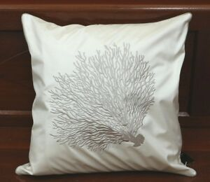 """JIM THOMPSON CUSHION COVER 100%THAI SILK EMBROIDERY CORAL ON IVORY COLOR 18""""x18"""""""