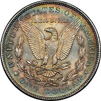 1886-P USA MORGAN SILVER DOLLAR NGC MS63 BU STRIKING UNC COLOR GEM TONED (DR)