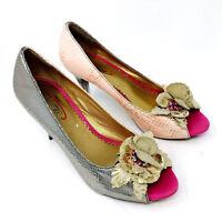 Poetic License Womens Heels Sz 37 7 Floral Rockabilly Artsy Peep Toe Shoes Pink
