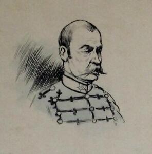 DRAWING Original ~ FRENCH MILITARY ~ c.1905 Albert Guillaume MAJOR 26th Regiment