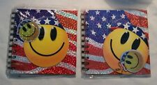 "2 Patriotic Happy Face Spiral Bound 60 Page Notebooks, 6"" Square"