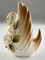 Ceramic Swan Flower Planter Vase Japan Vintage U705