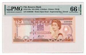 FIJI banknote 5 Dollars 1992 PMG MS 66 EPQ Gem Uncirculated