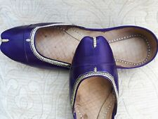 PURPLE  LADIES INDIAN LEATHER WEDDING KHUSSA SHOES   SIZE 8