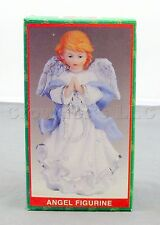 "5"" Tall Christmas Holiday Praying Angel Blue White Gown Dress Figurine with Box"