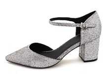 ASOS Womens UK 8 Silver Glitter Sparkly Pointed Toe Mid Block Heel Shoes Sandals