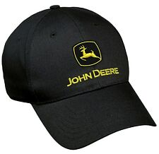 NEW John Deere Black Twill Cap Yellow Logo LP17593