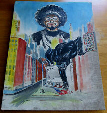 BLACK PANTHERS OIL PAINTING. ARTIST UNKNOWN. 24 X 18.ON CANVAS.