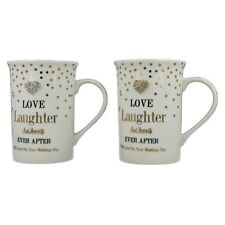 Set Of 2 Love Laughter Fine China Diamond Heart Dotted Design White Coffee Mugs