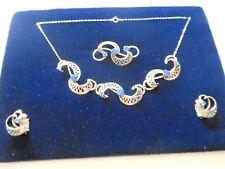 Vintage Schmuckset Halskette Ohrclip Brosche Gablonz 50er Jahre
