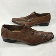 Brand Q Mens Sz 42 US 8.5 9 Hand Made Brown Leather Dress Business Loafers Shoes