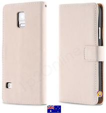 Samsung Galaxy S5 Quality Suede Leather Case Cover Wallet G900 i9600 Ivory