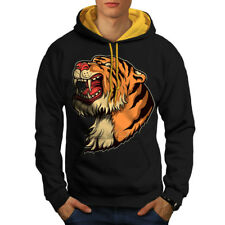 Wellcoda Tiger Head Mens Contrast Hoodie, Cartoon Animal Casual Jumper