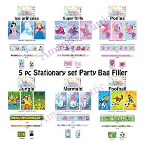 Kids Party Bag fillers 5pc Stationary Sets Football Mermaid Pony Princess Jungle