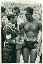 Willy den Ouden Netherlands Ferenc Csik Hungary Swimming OLYMPIC GAMES 1936 CARD