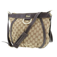 GUCCI Original GG Canvas Shoulder Bag Brown  Leather Vintage Italy Auth #OO780 S