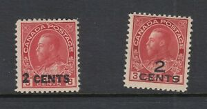 CANADA ADMIRAL ISSUE 139-40 PROVISIONAL OVERPRINTS BOTH TYPES MINT F-VF HINGED
