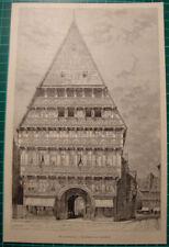 Hildesheim antique print 1892 Wernersches haus house  holzstich