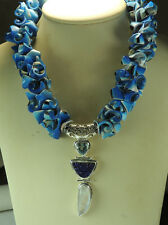 Statement Blue Curly Seashell Necklace & Moonstone Blue Topaz & Druzy Sterling