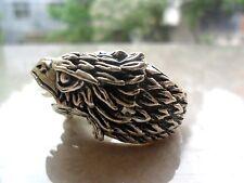 Elegant Tibet silver Carved dragon Gemstone men's ring eagle