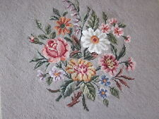 Completed Antique 1930's Floral needlepoint canvas Germany #1