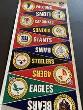 Rare Complete Set of 1966 NFL Team Vinyl Pennants - 16 Teams - Uncut