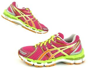 Women's Asics Gel Kayano 19 Raspberry Mango Lime Running Shoes Size 7.5 $150