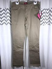 Dickies Girl Size 15 Tan Khaki Pants SKINNY Low Rise Slim Leg Chinos HH164 NEW