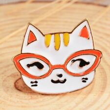 Women White Glasses Cat Head Brooch Enamel Pin Cartoon Animal Button Charm Pins