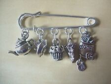 Silver Tone Kilt Pin Style Brooch AFTERNOON TEA (Teapot Cupcake & Cake) Charms