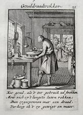 Goldschmied Schmuck Gold Golddraht Kette Beruf alter Kupferstich Luyken 1717