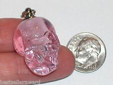 1pc. Glass Skull BOTTLE Vampire Witch skeleton perfume pendant Pink Screw top
