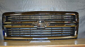 2014 - 2015 Chevrolet Silverado 1500 High Country Chrome GRILLE new OEM 23259619