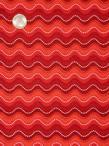 Christmas Wavy Dot Stripe Red Cotton Fabric QT Victoria Hutto By The Yard