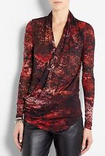 EXCELLENT  $320  HELMUT LANG MIDNIGHT FLORAL RED WRAP TOP BLOUSE  SWEATER P
