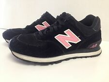 New Balance 574 Black Pink Athletic Running Shoes US Women's 7.5
