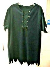 DARK GREEN VELOUR PETER PAN/ELF LACED TUNIC COSTUME SHIRT