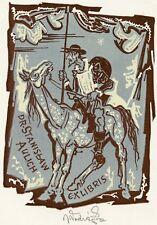 Cervantes, Don Quixote, Ex libris Bookplate by Jaroslav Vodrazka
