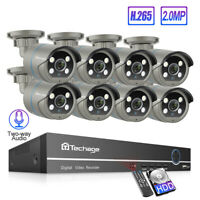 Techage 8CH 1080P POE NVR 4 Array LED 2.0MP 2-Way Audio Speaker Camera System