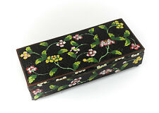 Chinese Cloisonne & Copper Rectangular Divided Dresser Box, 19th Century Floral